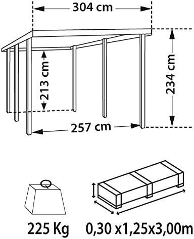 Carport de madera, color marrón con cobertura ENZO 304 512 x cm: Amazon.es: Jardín