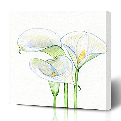 Ahawoso Canvas Prints Wall Art 12x12 Inches Yellow Cala Calla Flowers Watercolor Nature Natural Lily White Aquarelle Bloom Garden Decor for Living Room Office Bedroom