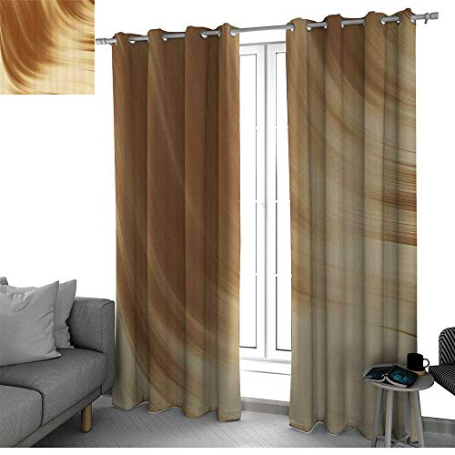Tan Best Home Fashion Wide Width Thermal Insulated Blackout Curtain Curved Wave Like Conceptual Artistic Display Creamy Effect Soft Colored Subtle Image window curtains Cream Tan W96 x L96 Inch