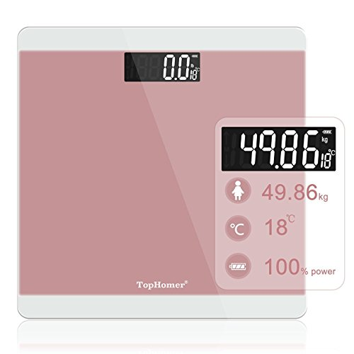 TopHomer Digital Body Weight Bathroom Scale with Step-On Technology, 400pounds, Large LCD Backlit Display and Low Battery Indication (Pink)-Durable Tempered Glass Weight Scale