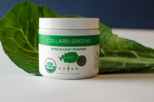 KOYAH - Organic USA Grown Collard Greens Powder (Equivalent to 15 Cups Fresh): Freeze-dried, Whole-Leaf Powder