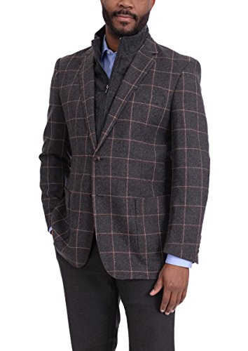 Zenbriele Charcoal Plaid Flannel Wool Blend Sportcoat With Removable Mock Liner (Wool Flannel Plaid Blend)