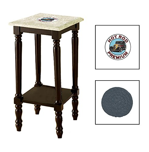 Espresso/Dark Walnut Marble Top Accent Table Featuring the Choice of Your Favorite Vintage Gas Themed Logo on the Top Shelf - FREE Coaster Included (Hot Rod Premium) by The Furniture Cove (Image #1)