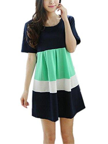 Aivosen Moda Elegante Donna Cotone Abito Gravidanza Multicolore Vestito Sciolto Manica Corta Estivo Casual Comoda Premaman Vestito Taglie Forti Green