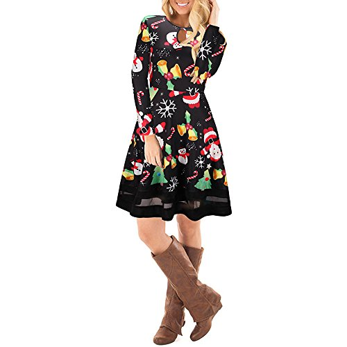- Autumn iYBUIA Classic Style Women Christmas Printed Lace Dress Ladies Long Sleeve Mini Dress