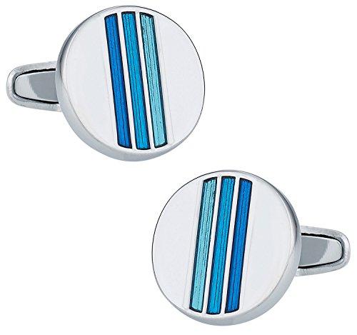 (Cuff-Daddy Trendy Tonal Blue Enamel Round Silver Cufflinks with Presentation Box)