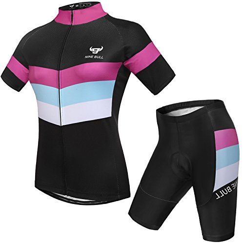 Cycling Jersey Short Sleeve Women MTB Bike Clothing Road Bicycle Shirts Shorts Padded Pants Purple