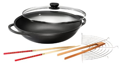 Karcher 120292 Mai-Lin Aluguss Wok (36 cm, Durit-Select-Antihaftbeschichtung, inkl. Glasdeckel, Zubehör) schwarz