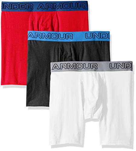 Cotton 6in red 3pk Charged Under bianco Boxer Armour Uomo Nero E1x6IBq