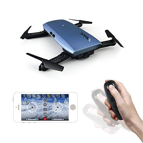 JJR/C H47 RC Drone with 720 HD Camera Elfie Foldable Selfie Helicopter Gravity Sensor Mode One Hand Remote Control Mini Quadcopter (Blue)