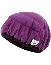 Deep Conditioning Thermal Heat Cap w/Disposable Shower Caps | Curly Girl Method | Steaming Haircare Therapy | Soft, Plush Cotton, Stretchy Nylon | Microwave Safe (Purple/Black)