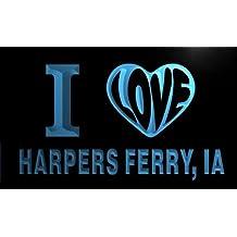 v55415-b I Love HARPERS FERRY, IA IOWA City Limit Neon Light Sign