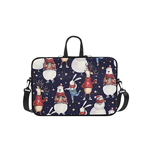Seamless Watercolor Christmas Pattern Background W Pattern Briefcase Laptop Bag Messenger Shoulder Work Bag Crossbody Handbag for Business Travelling