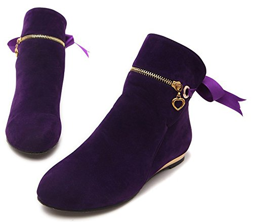 IDIFU Womens Sweet Bow Zipper Flat Boots Round Toe Faux Suede Short Ankle Booties Purple T7G3UlYzMe
