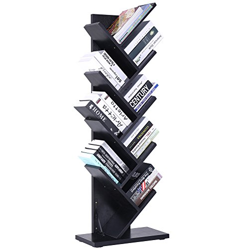 SUPERJARE 9-Shelf Tree Bookshelf | Thickened Compact Book Rack Bookcase | Display Storage Furniture for CDs, Movies & Books | Holds Up To 10 Books Per Shelf | Black by SUPERJARE
