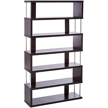 baxton studio barnes 6shelf modern bookcase dark brown