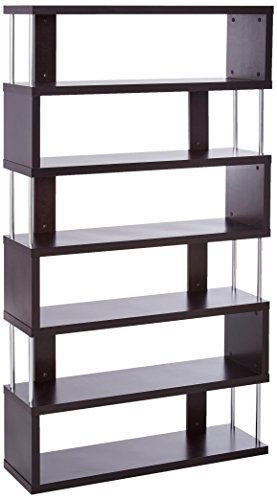 Baxton Studio Barnes 6-Shelf Modern Bookcase, Dark (Brown Modern Furniture)