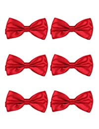 MENDENG Men's Adjustable 6 Pack Solid Bow Ties Pre Tied Formal Party Bowties