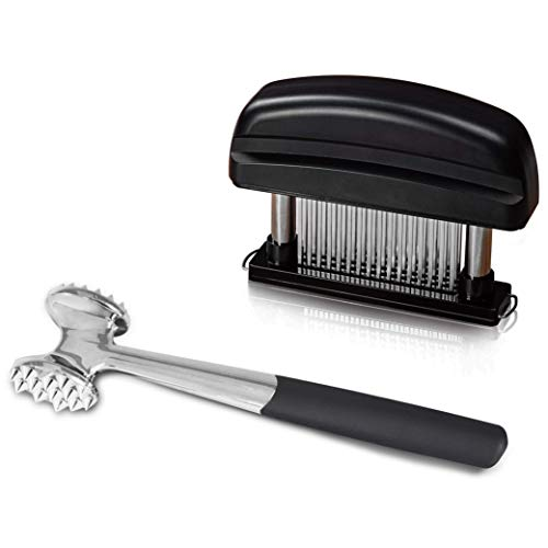Elabo Kitchen Meat Tenderizer Sets - Heavy Duty Manual Hammer Mallet Tool and Meat Tenderizer Needle Tool with 48 Stainless Steel Sharp Blades For Steak, Chicken, Fish, Pork, Beef, Veal ()