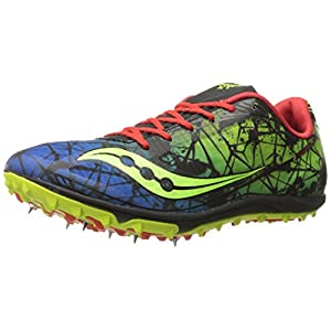 Saucony Men's Shay XC4 Cross Country Racing Shoe, Citron/Blue/Red, 12.5 M US