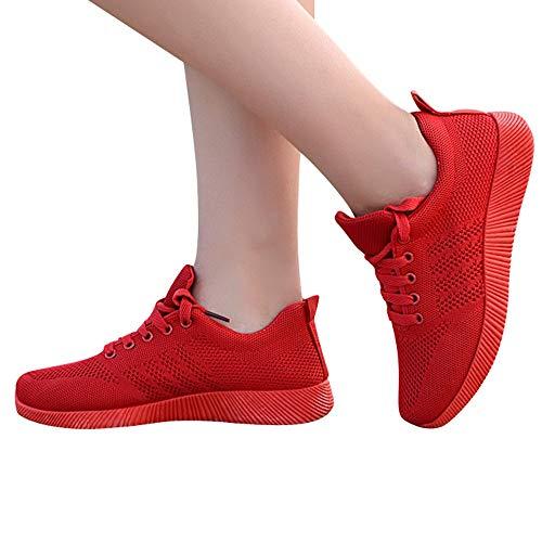 Zapatillas Respirable Running Deportivas para Zapatos Gym Cordones con Rojo Deportes Mujer QinMM RR6Tw1x