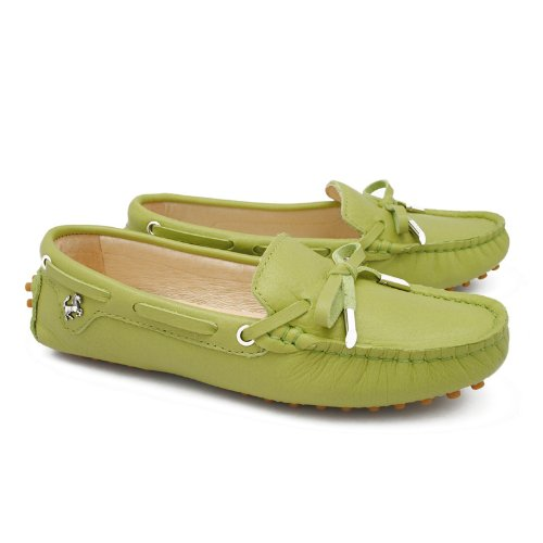 TDA Womens Slip-On Leather Walking Driving Trail Running Loafers Olive Green 8z16GrudRx