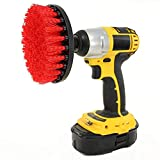 Pulison Drill Brush Kit Scrub Brush Drill Attachment Kit - Drill Powered Cleaning Brush Attachments - Time Saving Cleaning Kit - Great for Cleaning Pool Tile, Flooring, Brick, Ceramic, Marble (Red)