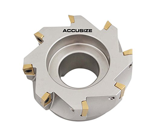 AccusizeTools - 4'' x 1-1/2'' 90 Deg. Square Shoulder Indexable Face Mill with 8 APKT1604 Inserts installed, 4508-0020B