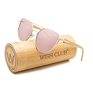 WISH CLUB Fashion Wood Polarized Cat Eye Lenses Sunglasses for Women and Men Wooden Bamboo Handmade Cateye Fashion Rimmed Eyewear Mirrored Light Glasses with Box UV400 Protection (Pink)