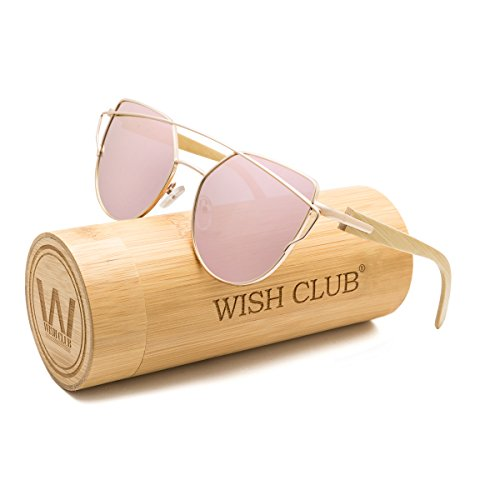 WISH CLUB Fashion Wood Polarized Cat Eye Lenses Sunglasses for Women and Men Wooden Bamboo Handmade Cateye Fashion Rimmed Eyewear Mirrored Light Glasses with Box UV400 Protection - The In Club Sunglasses
