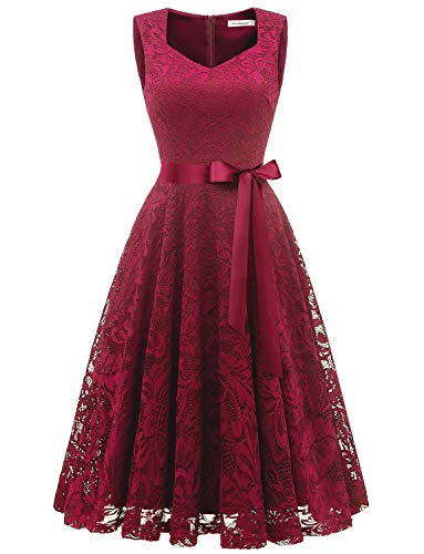 Gardenwed Elegant Floral Lace Bridesmaid Dresses Sleeveless V Neck Formal Dresses Cocktail Dresses for Women Dark Red XL