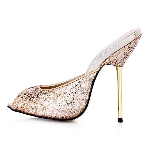 Sandalias femeninas banquete punta peces grandes zapatos de mujer zapatos de tacón alto de plata The golden light slice