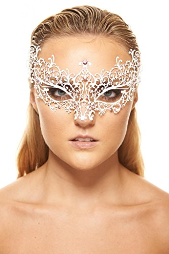 [KAYSO INC BA005 Michelle Collection Luxury Metal Filigree Laser Cut Masquerade Mask, White with Pink] (Rhinestone Masquerade Mask)