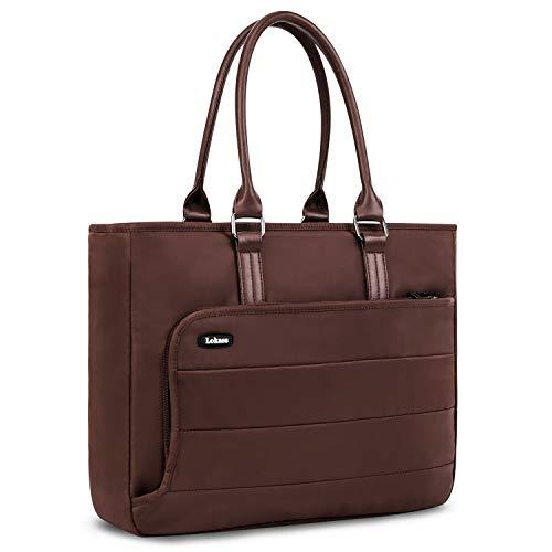 SUPPETS Laptop Tote Bag Slim Business Briefcase Lightweight Water Resistant Work Tote Computer Bag fits 15.6 inch Laptop Large Shoulder Bag Casual Handbag for Women,Brown