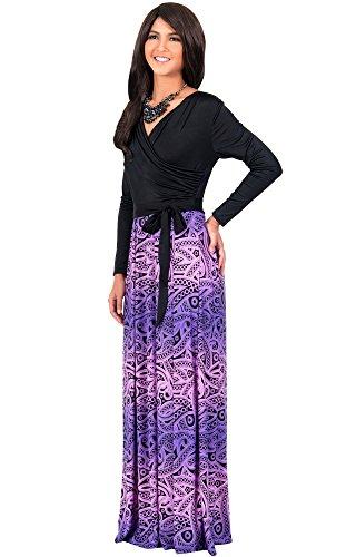 KOH KOH® La Mujer Vestido maxi cruzado estampado Morado