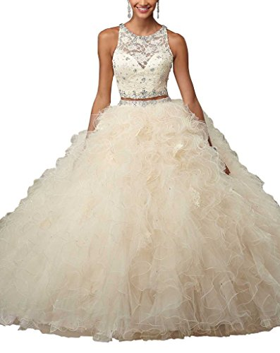 PuTao Women's Two Pieces Lace Beads Ruffled Sweet 15 Quinceanera Dresses 0 US Beige ()