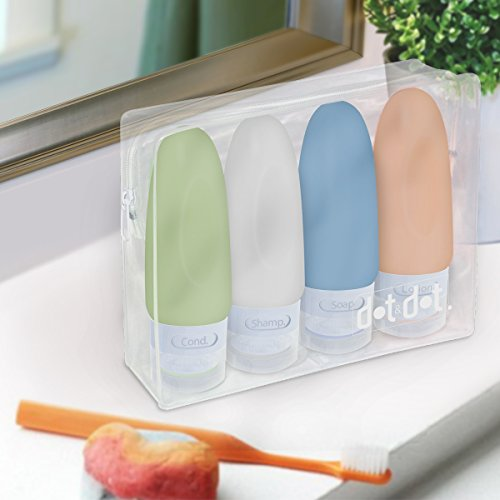 4 Leak Proof Travel Bottles - 3 oz Travel Containers for Travel Size Toiletries with TSA Quart Bag by Dot&Dot (Image #4)