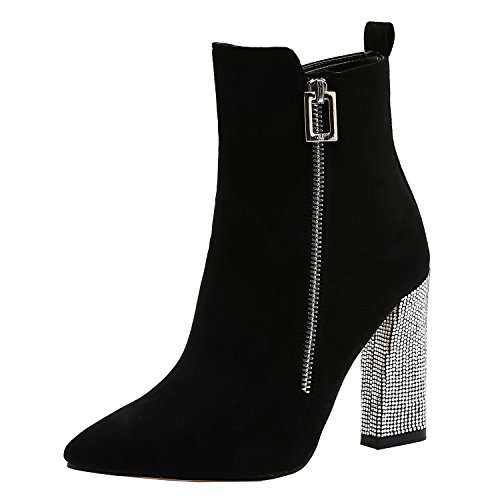 ViVi Suede Black High-Heels Sexy Ankle Boots With Rhinestone Size 8 For Women