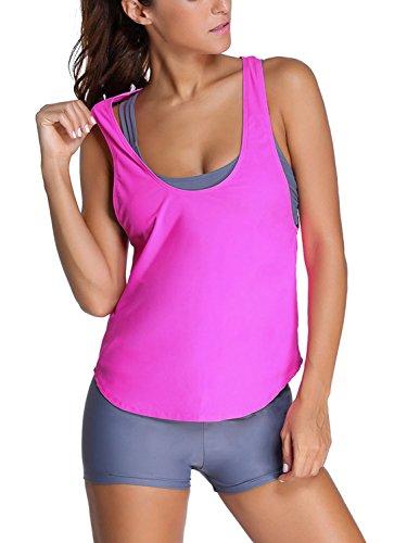 [Minetom Bikini Women Summer Fashion Comfortable Swimwear With Shorts Casual Beach Wear Three Pieces Swimsuit Tankinis Vest Top Pink US] (Racer Girl Romper Costumes)