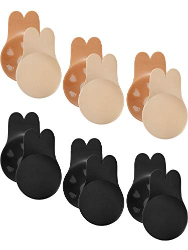 6 Pairs Women's Lift Nipple Breast Covers Rabbit Ear Shape Backless Bras Adhesive Invisible Bra (Black and Beige, ()