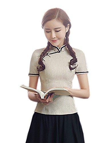 Femme Mao Col Chemisier Aprikosenfarbe Acvip n1S0TqR4w