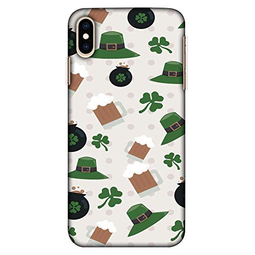 Amzer Ultra Thin Slim Fit Designer Hard Shell Case Back Cover Skin for Apple iPhone Xs Max, Shamrock/Hearts/Beer and Potluck - Forest Green