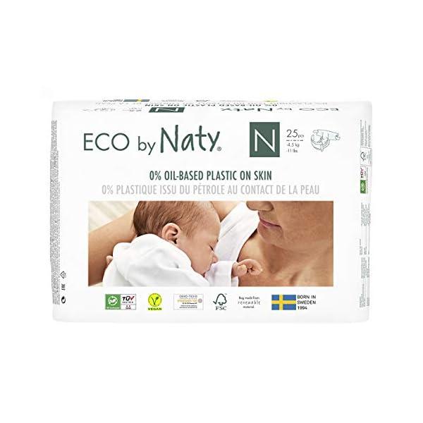 Eco by Naty, Taglia 0, 100 pannolini, -4.5kg, fornitura di UN MESE, Pannolino eco premium a base vegetale con lo 0% di… 1