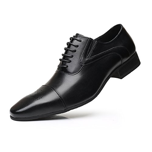 Men's Business Casual Shoes, Classic Leather Oxfords Dress Shoes Modern Round Cap Toe Lace up Formal Shoes for Men