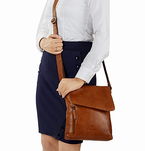 Crossover Shoulder Leather Brown Crossbody Bag Finelaer 1wYEqA