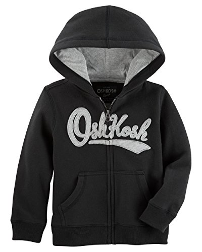 OshKosh B'Gosh Boys' Toddler Full Zip Logo Hoodie, Black, 2T