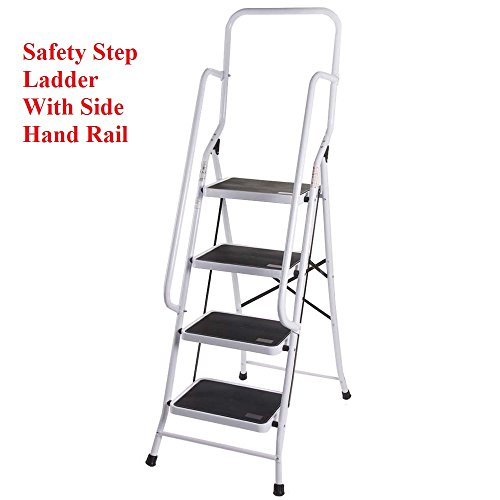 Stupendous Foldable Non Slip 4 Step Steel Ladder Tread Stepladder Safety Handrail Rail Ocoug Best Dining Table And Chair Ideas Images Ocougorg