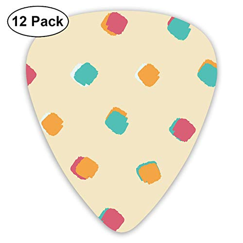 Ink Square Dot Guitar Picks, 12 Pack Unique Designs Stylish Colorful Guitar Picks for Bass, Electric and Acoustic Guitars