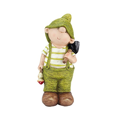 Northlight QQ76178 Young Boy Gnome with Shovel Spring Outdoor Garden Patio Figure Statuary and Fountains, 13.75'', Green by Northlight