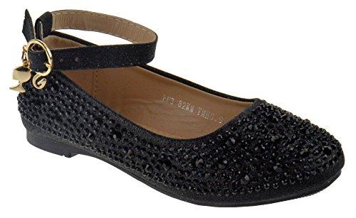 Lucita FU3 62KM Little Girls Rhinestone Glitter Dress Shoes Black 2